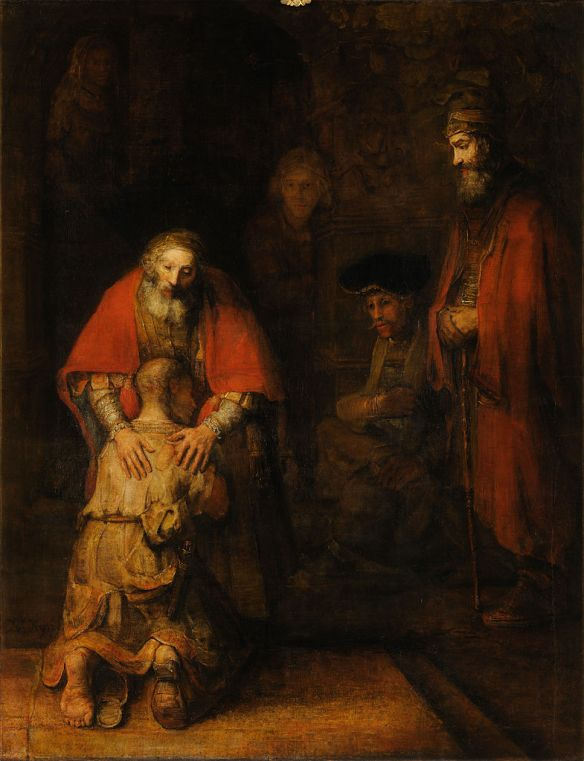 Rembrandt: the father embraces the son.